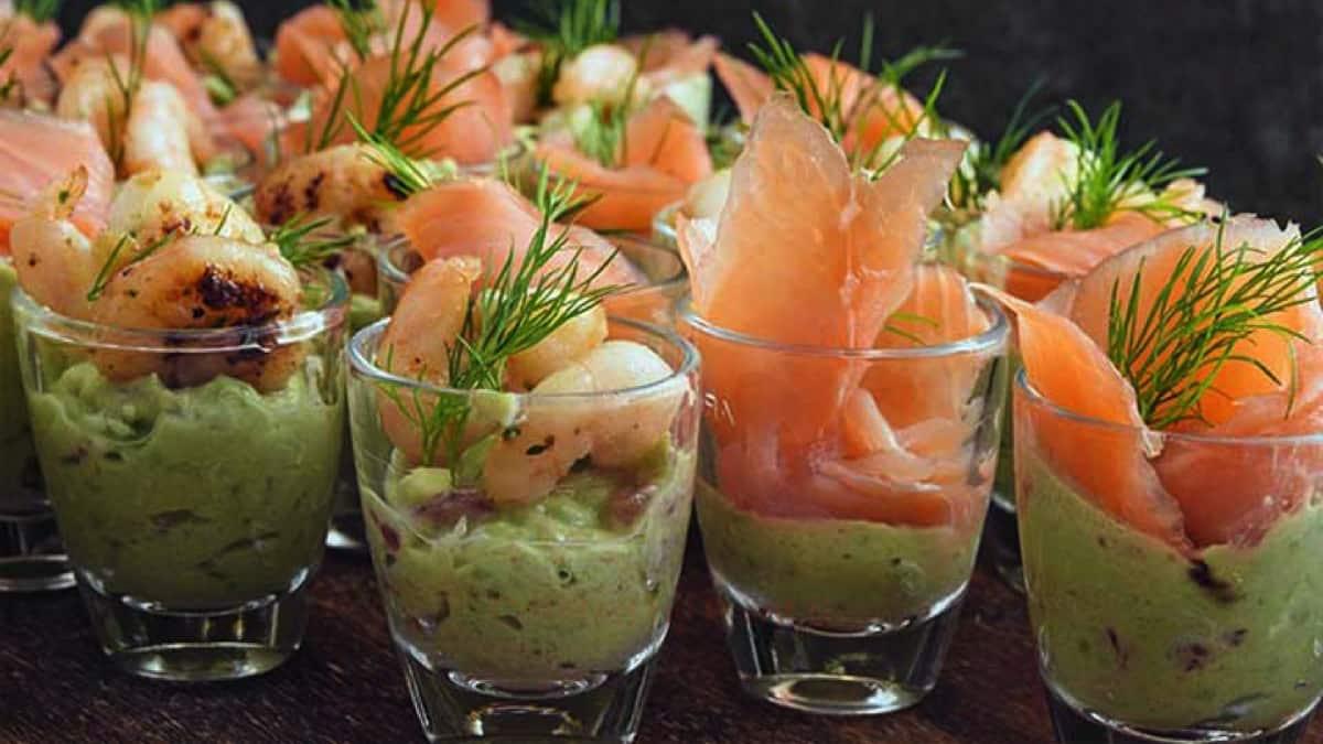Verrines de crabe saumon et crevettes
